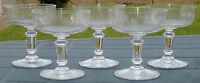 Baccarat - Lot de 5 coupes à champagne en cristal taillé, modèle jeux d'orgues.