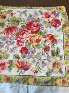 2 Vintage April Cornell Pillow Covers, Flowers,Pretty Border,Button Close, 2000