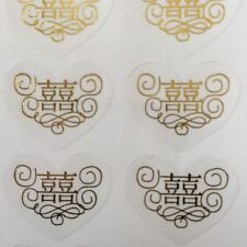 80-Gold Double Happiness Wedding Invitation Envelope Stickers Seals-Heart Shape