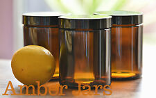 4 x 175ml Amber Glass Jars with Lid-cream, candles, spice QUALITY EUROPEAN GLASS