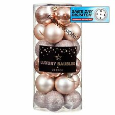 24 X40MM ROSE GOLD Deluxe Luxury Christmas Baubles-XMAS TREE HANGING DECORATION