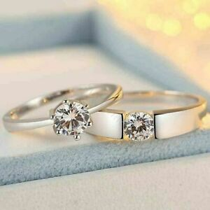 2.0 CT White Round Cut CZ His King Her Queen Engagement Rings Set 925 Silver