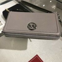 Michael Kors Medium Large  Card Holder Leather id Wallet Wristlet Grey Silver