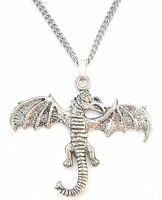 Dragon Pendant Handcrafted in Solid Pewter In The UK + Free Gift Box PN04