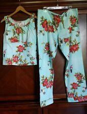 NWT Woman's XL Bed Head Fine Cotton Linen Blue Hummingbird Floral Pajama Set USA