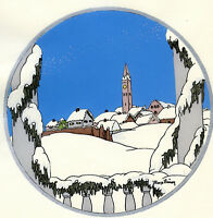 1930s French Pochoir Max Ninon Print Art Deco Winterscape Old City View Houses