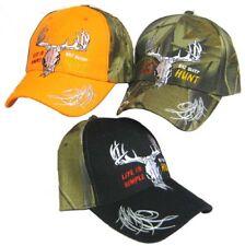 Life Is Simple Eat Sleep Hunt Deer Skull Orange Front Embroidered Cap Hat 908A
