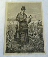 1882 magazine engraving ~ GRANADA WOMAN CARRYING WATER ON SEASHORE, Spain