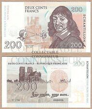Francia 200 francos 2015 UNC SPECIMEN Prueba Nota BILLETE-Descartes-W Sello en seco