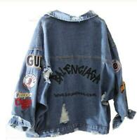 New Womens Loose Denim Jacket Embroidery Coat Hip Hop Hole Breasted outwear