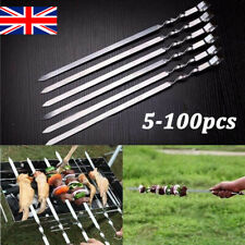 More details for stainless steel bbq skewers barbecue meat vegetable kebab kitchen grill cook lot