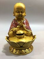 Exquisite Chinese Old brass lotus The monk hug bowl incense burner YR