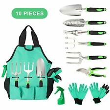 Garden Tools Set 10 Pieces, Gardening Kit With Heavy Duty Aluminum Hand Digging