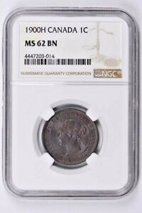 1900H Canada 1 Cent NGC MS 62 BN Witter Coin