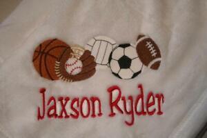 Personalized Baby Blanket Embroidered Fleece Sports Monogram Gift Boy or Girl
