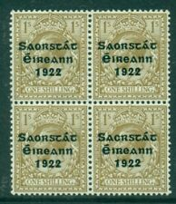 IRELAND 1922-23 THOM 3 LINE 1 SHILLING WITH VARIETY SAC IN UM BLOCK OF 4