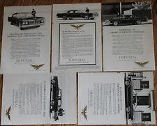 5 x Imperial Crown / LeBaron Southampton Magazine Print Ads 1962 10 x 7