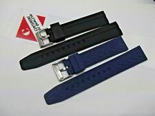 cinturini silicone XL lunghi nero blu diver ansa dritta 20-22-24mm watch strap