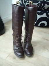VINTAGE BROWN MILITERY STYLE KNEE HIGH BOOTS SZ 6/39