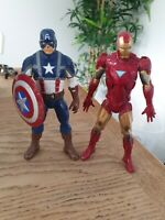 "Marvel Avengers Captain America Plus Iron Man Figures 8"" Hasbro"