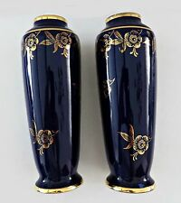 """LIMOGES CHASTAGNER Vase Pair Cobalt Blue 24K Gold Trim Porcelain France 6"""" Vtg"""