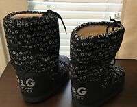 Authentic Gabbana D & G Women's Size 8.5/9.5 Black Logo Winter Snow Moon Boots