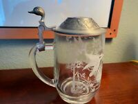 Vintage Duck Stein Glass Etched France Germany Pristine Shape RARE Beer Hunting