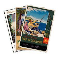 Set of Three (3) NEW ZEALAND Railways Travel by Train Ad Prints circa 1930 24x36
