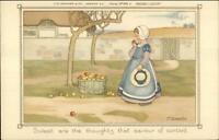 M. Sowerby Children Little Girl Apples CW Faulkner c1910 Postcard