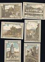 6x  Notgeld TREFFURT Thüringen 50 Pf Serie1922  Landschaft  Ansichten  top