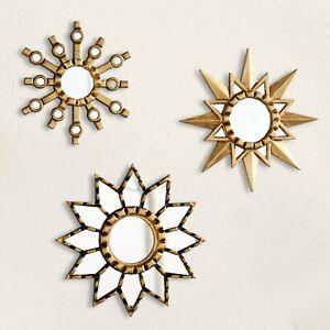 """Gold Sunburst Round Mirror set 3 """"Andean Stars"""", Collection Accent Round Mirrors"""