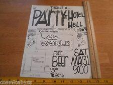 New World Hotel Hell Orange County CA 1980s ORIGINAL Punk Rock concert poster