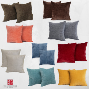 """Chenille Decorative Throw Pillow 2 Pack Set For Sofa, 18x18"""", Soft, Many Colors!"""
