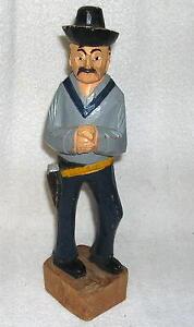 """Vintage Hand Carved Wooden Folk Art Cowboy, Western 12"""" #2"""