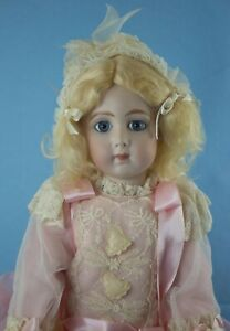 """18"""" Triste or Long Face Jumeau Reproduction on Composition Body- Pretty in Pink"""