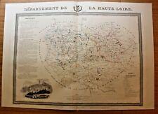 Carte département Haute Loire lithographique originale XIXe Puy en Velay 1841___