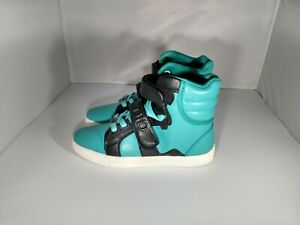 Android Homme black teal high top sneaker shoes size 8.5