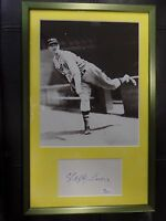 LEFTY GROVE B&W PHOTO MATTED & FRAMED WITH JSA AUTHENTICATED SIGNED INDEX CARD