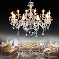 Modern Crystal Ceiling Lighting Chandelier 10 Light Lamp Pendant Fixture Cognac