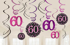 12 x 60th Birthday Hanging Swirls Black & Pinks Party Decorations Age 60 FREE PP