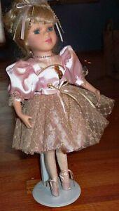 "Balerina new pointe Porcelain Doll, Blonde Blue Glass Eyes, silk pink dress, 16"""