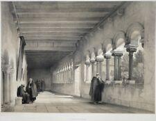 """Lithographie XIXe, """"Le cloitre de Tongres"""", architecture médiévale romane."""