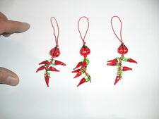 10 corni rossi e coccinella vetro porta fortuna portachiavi 10 horn charms corno