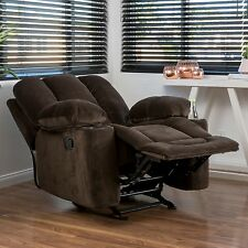Traditional Brown Fabric Glider Recliner Club Chair