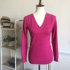 Vineyard Vines fushia pink v neck pullover sweater