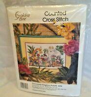 Vtg Cross Stitch Kit Peaceable Kingdom Kids Animals 60496 NOS 1992 Golden Bee