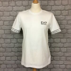 EA7 EMPORIO ARMANI MENS WHITE TAPE T-SHIRT TEE SHORT SLEEVE RRP £60 AD
