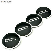 56mm × 4pcs Silver 500c  Wheel Center Sticker Badge For Fiat 500 Aftermarket
