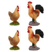 4pcs Resin Rooster Hen Decor Adornment Bonsai Moss Microlandscape Ornament