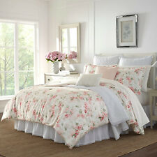 Shabby Chic Silky Faux velour  Pink Floral 3 pcs King Queen Comforter set